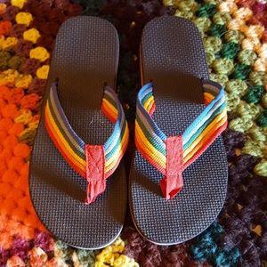 446039c0ed9b Vintage Shoes - RAD Retro Rainbow Flip Flops!